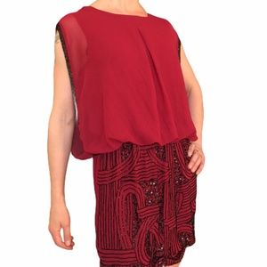 Romeo & Juliet Couture Beaded Red Blouson Dress